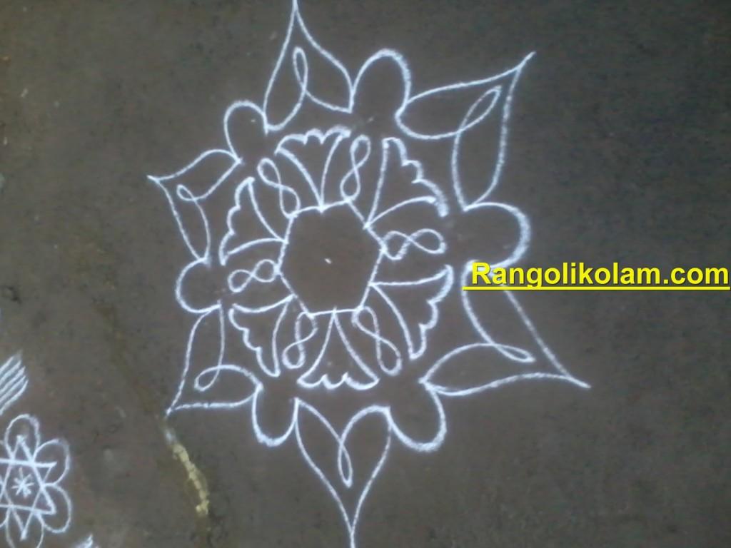 flower kolam step9
