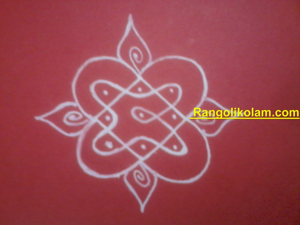 Simple sikkukolam finished with small design