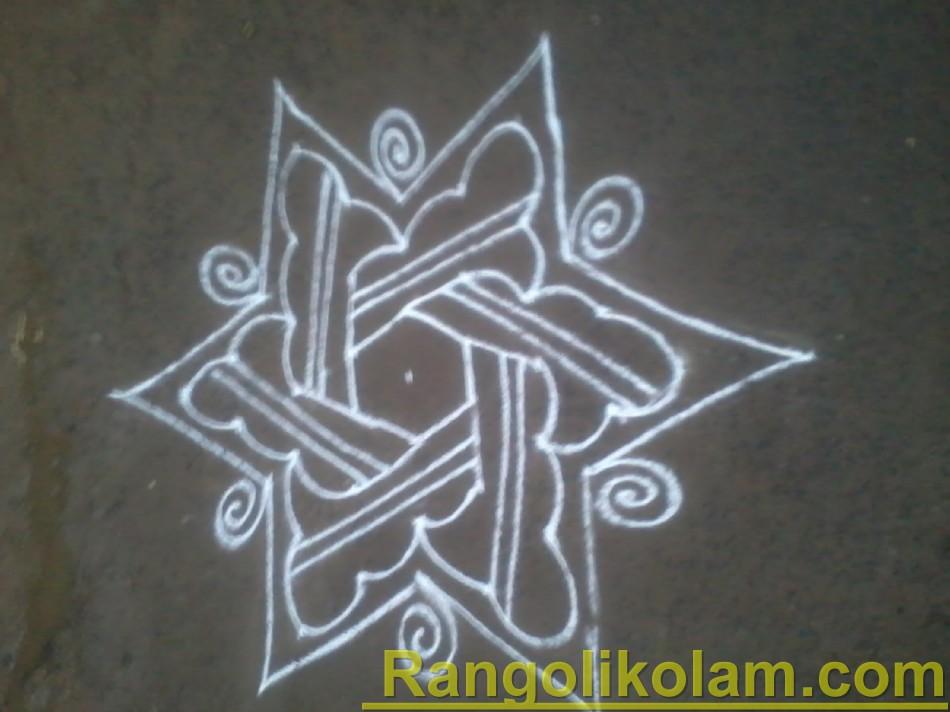 Star kolam with flower  step7