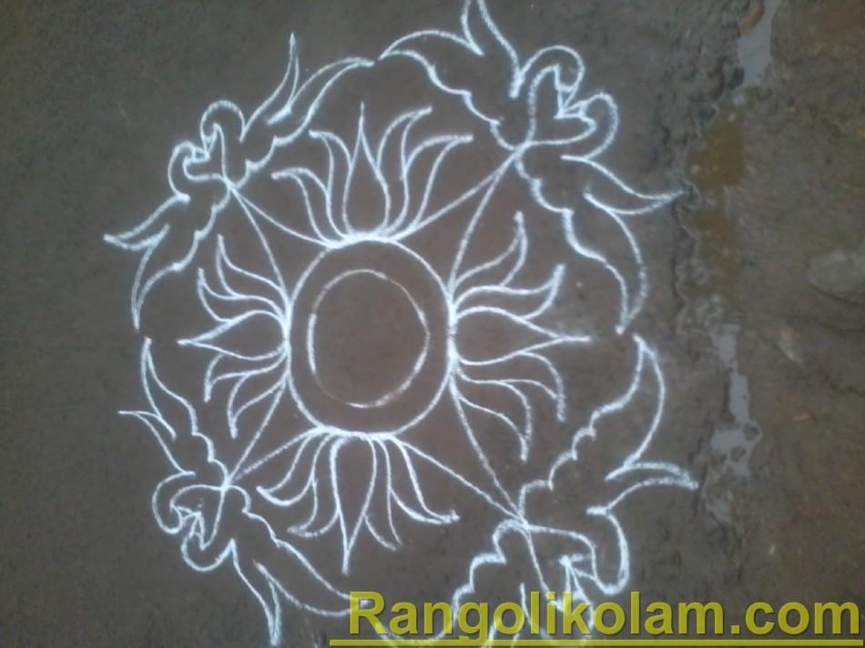 swan lotus kolam step11