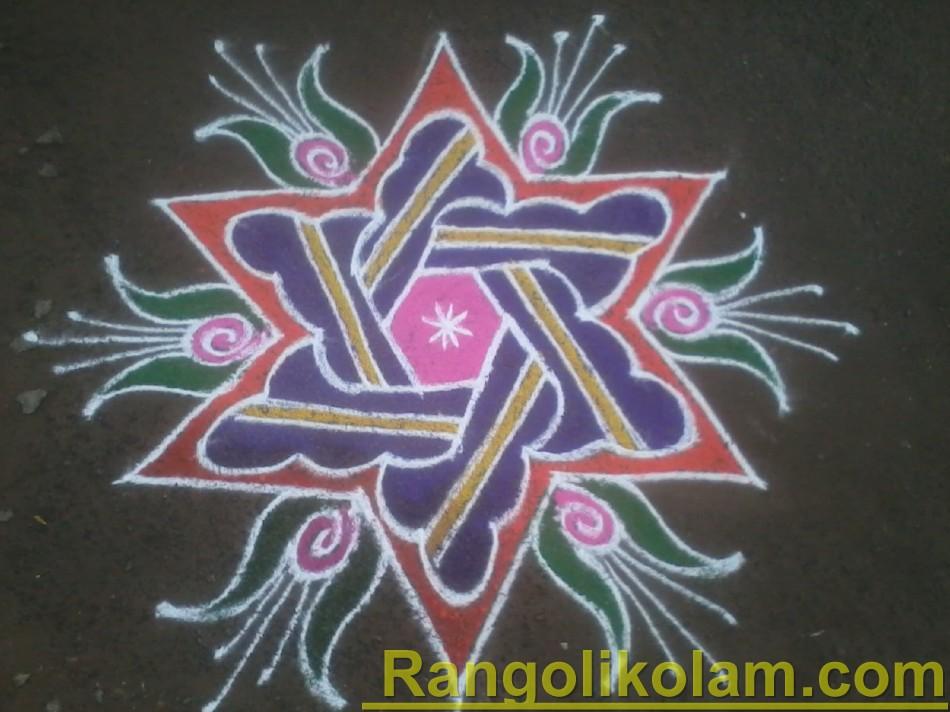 Star kolam withcolour full flower