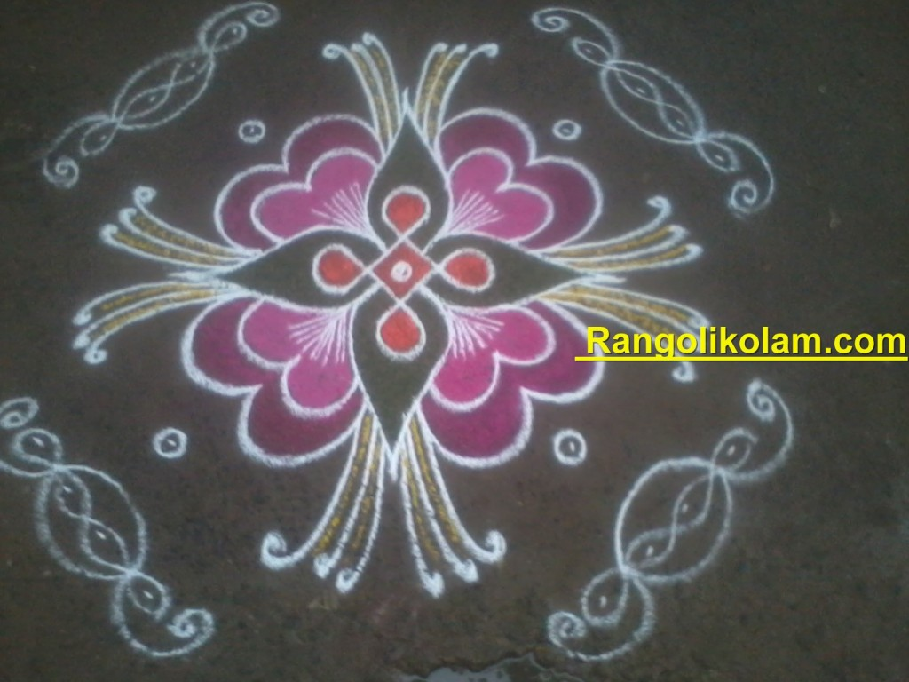 colourfull flower kolam