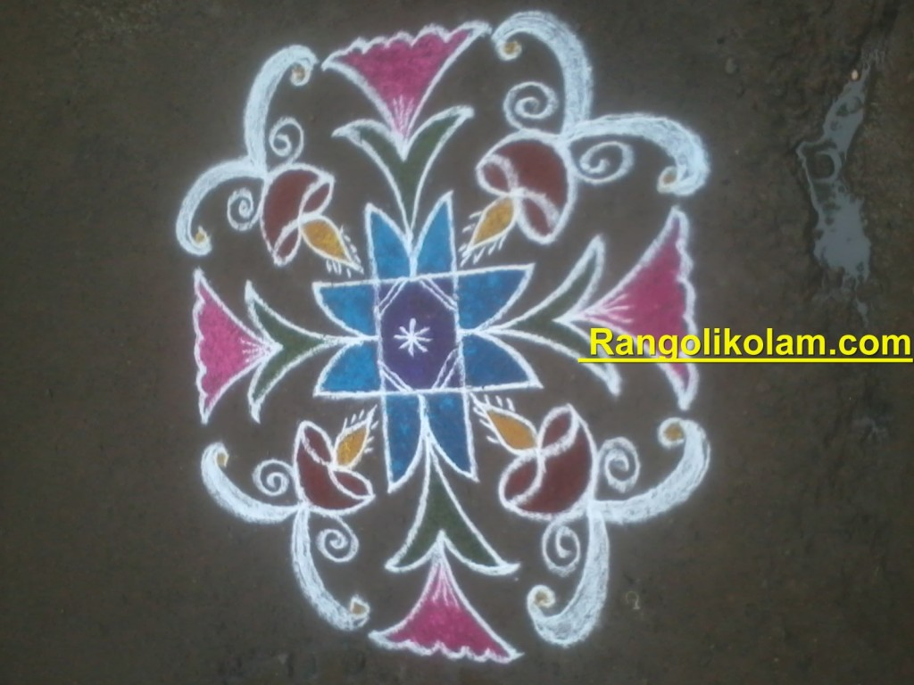 Deepam kolam  filled with colours
