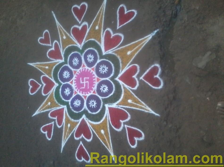 Flower star heart kolam