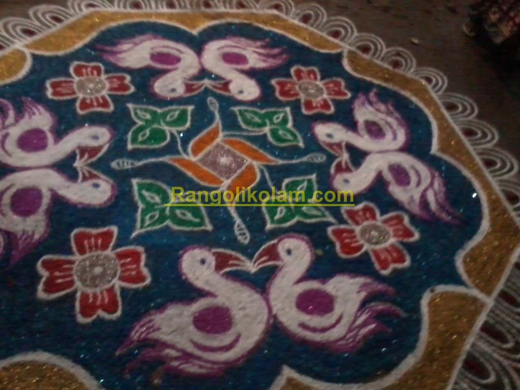 Duck kolam with gilters