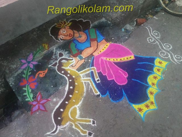Deer art kolam