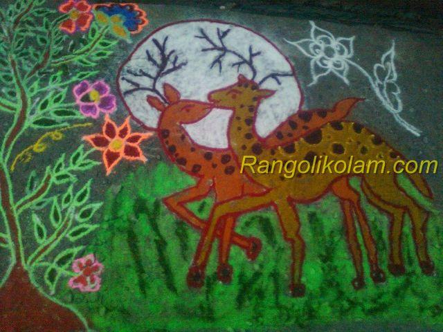 Deer rangoli kolam