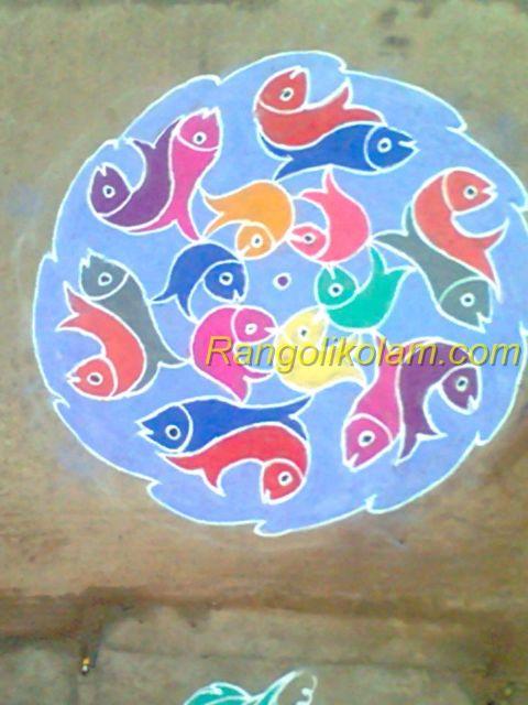 Rangoli fish kolam