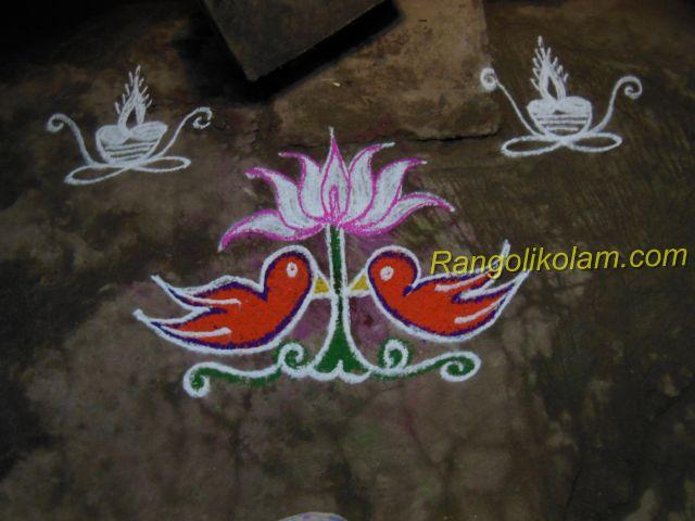lotus with bird kolam