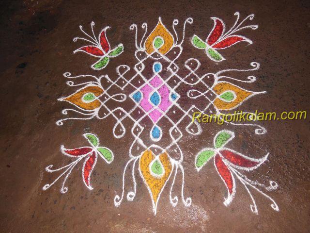 sikku-kolam-with-colourful-design