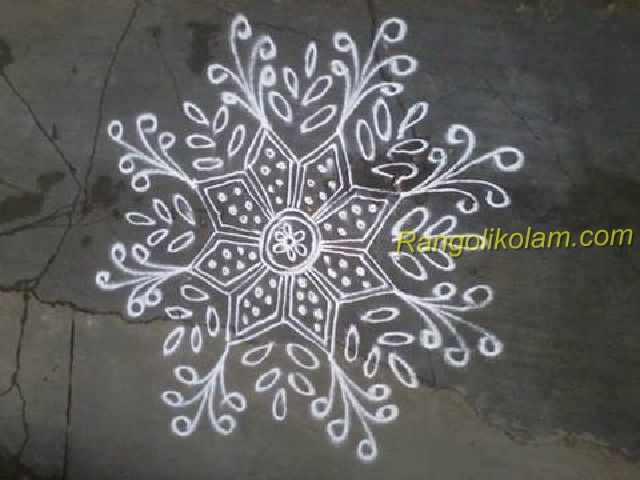 Simple white kolam design