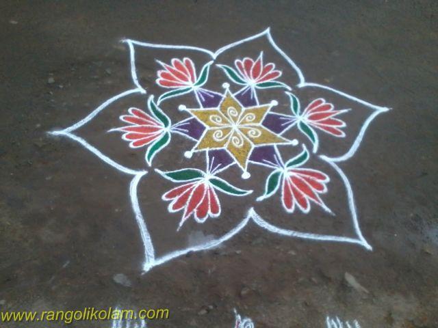 Flower kolam design
