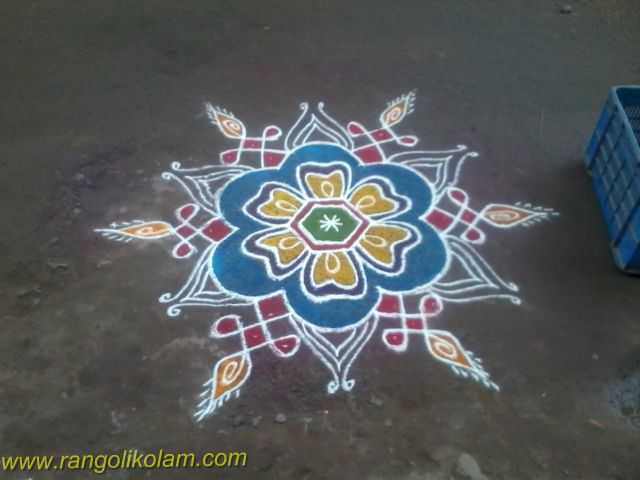 Fussion kolam with flower