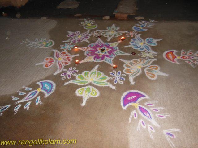 Deepam kolam with flowers in Adyar