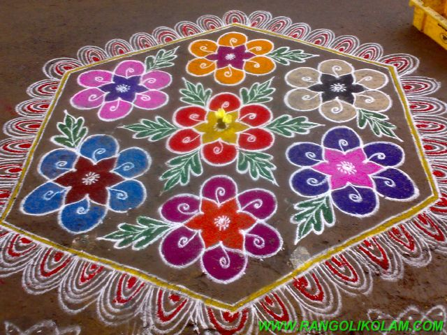 Margazhi colour kolam 21pulli 11