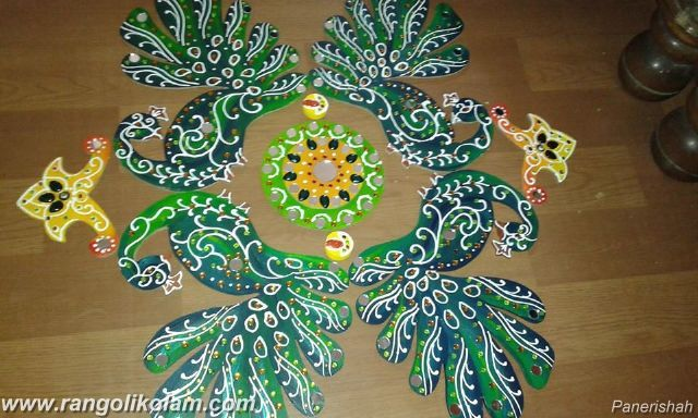 Different peacock kolam