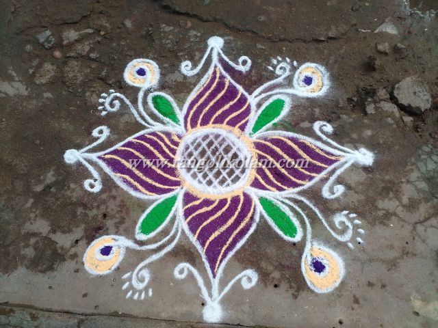 Simple kolam with colour