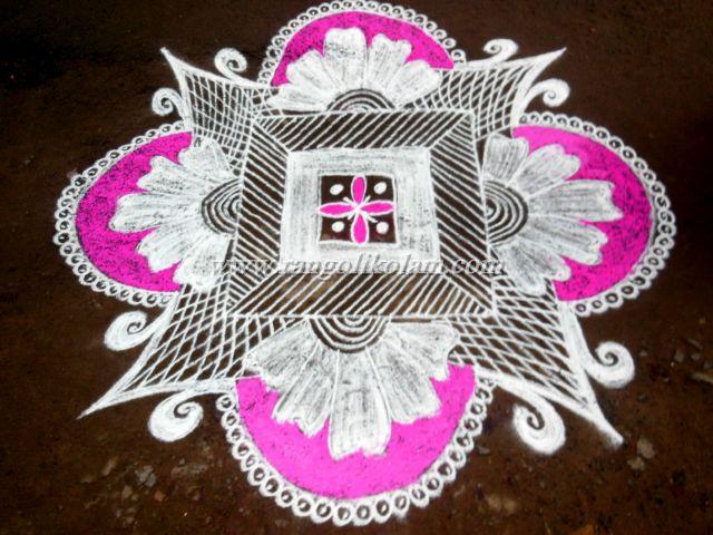 pink rangolikolam