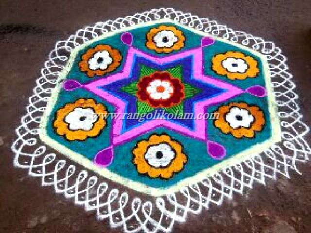 15 – 8 dots Kolam, 15×8 Pulli kolam, Pulli Kolam with Colour finished, Start 15 Dots and End 8 Dots Kolam