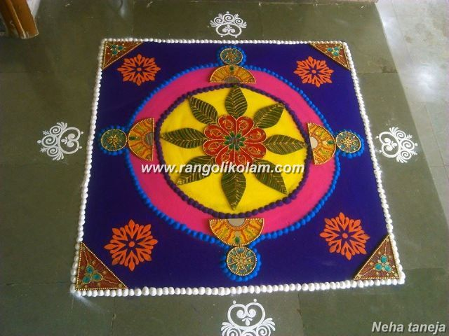 Bright colour kolam