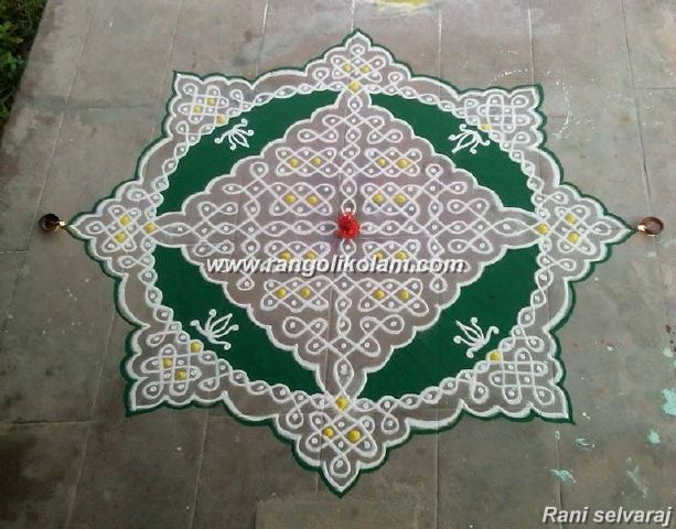 Sikku kolam with colour