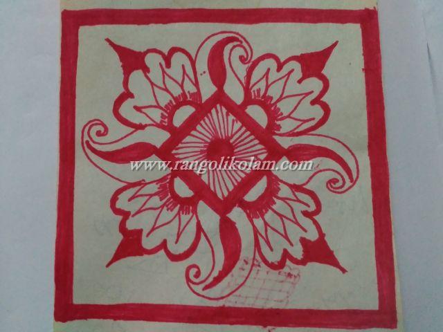 Red rangoli design