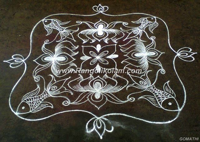 white lotus kolam