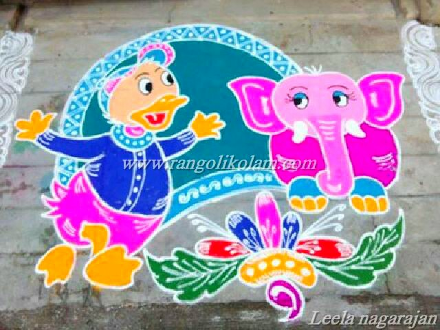 cartoon kolam