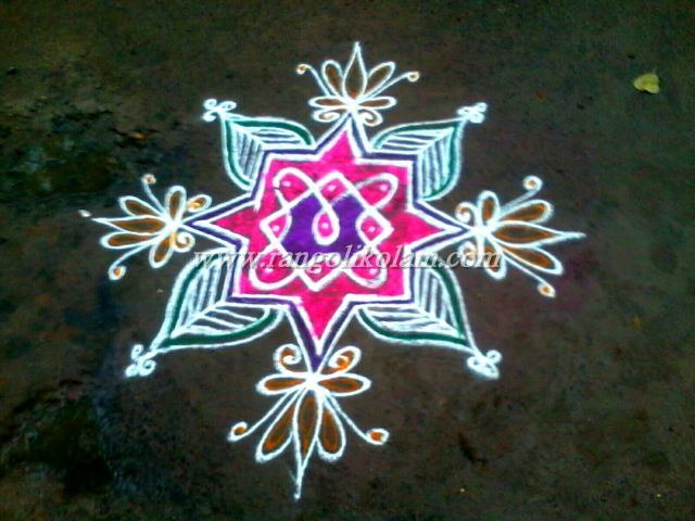 simple kambi colour kolam