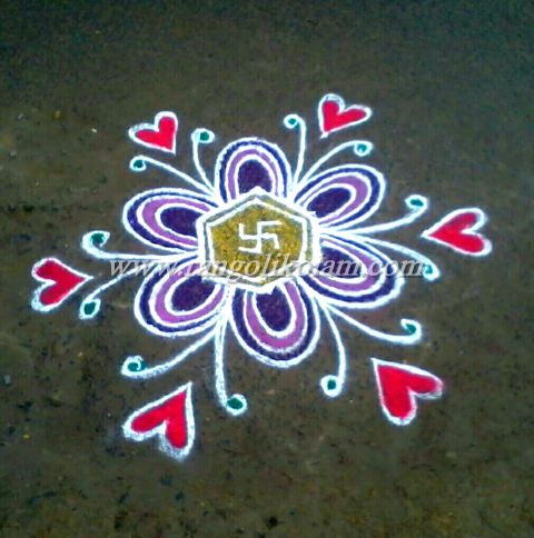 Simple flower with heart kolam