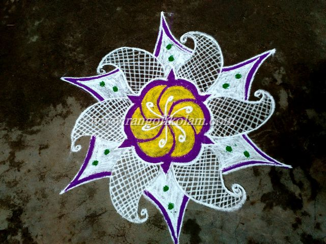White with colour kolam 1