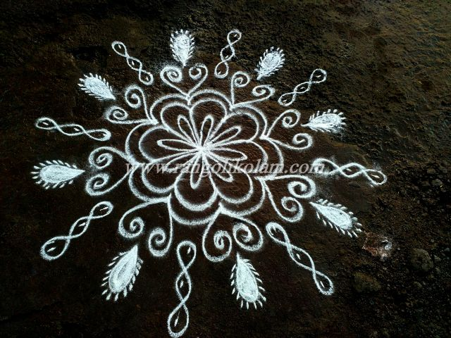 white kolam design