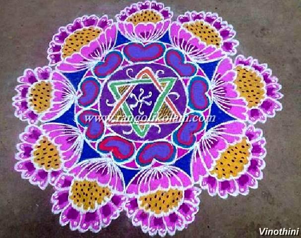 Pink rangoli design 690