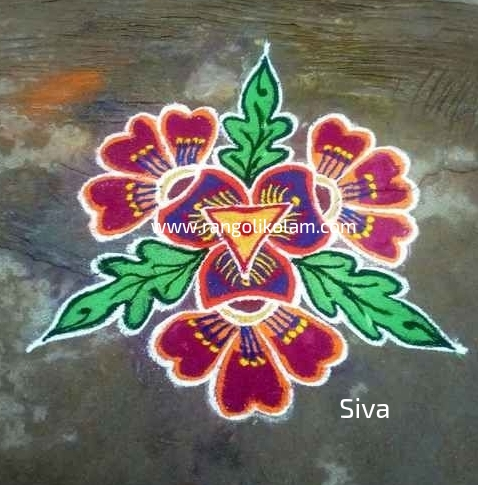 Small kolam with colour