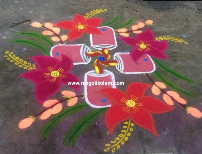 Christmas candle kolam